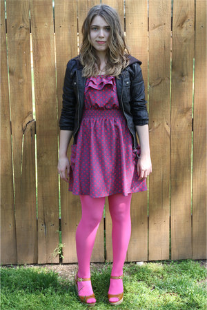 magenta polka dotted xhilaration dress - black leather jacket - pink tights