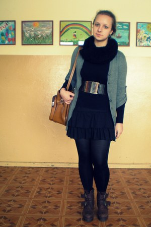 boots - tights - cardigan - accessories - skirt