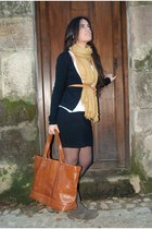 dark khaki leather Stradivarius boots - brown leather bag Zara bag - black cotto