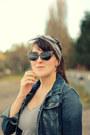 Navy-thrifted-jacket-dark-brown-oasap-sunglasses-mustard-thrifted-skirt