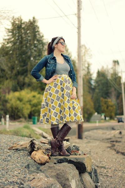 mustard thrifted skirt - navy thrifted jacket - dark brown OASAP sunglasses