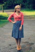 salmon striped Target cardigan - navy giraffe print vintage skirt