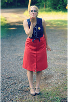 red thrifted skirt - heather gray Target heels - navy Forever 21 top