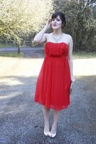 red Forever 21 dress - gold sequined Winky Designs purse - ivory OASAP necklace