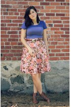 pink floral print wal-mart skirt - brown leather thrifted boots