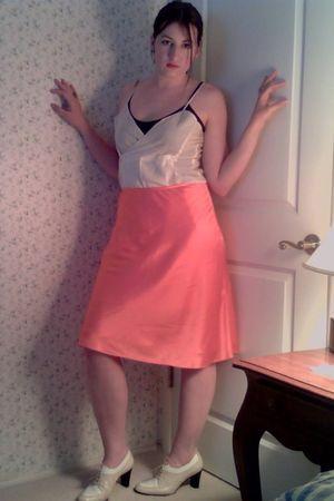 pink Ralph Lauren skirt - beige vintage shoes - white vintage intimate