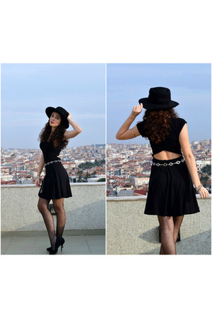 black nastygal dress - black asos hat - white thrifted accessories
