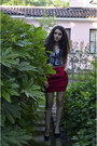 Navy-crop-top-romwe-top-maroon-stradivarius-skirt