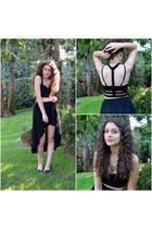 black heels heels - cropped Tobi top - asymmetrical Skirt skirt