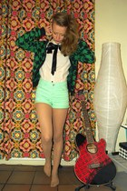 aquamarine GINA TRICOT shorts - white H&M blouse - forest green H&M cardigan