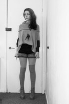 navy knitted shorts - heather gray Bik Bok stockings - silver GINA TRICOT jumper