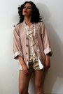 Light-pink-ethnic-aztec-vintage-jacket-camel-lace-cascade-vintage-shorts