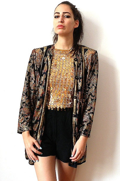 dark gray vintage jacket - black vintage shorts - gold vintage top
