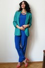 Turquoise-blue-business-wool-vintage-blazer