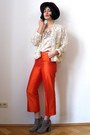 Carrot-orange-vintage-pants-camel-suede-asos-boots-ruby-red-felt-vintage-hat