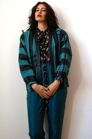 turquoise blue vintage jacket - black D&G blouse - teal vintage pants