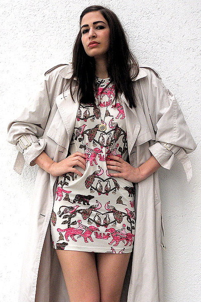 bubble gum Hermes dress - beige vintage coat - gold Etsy necklace