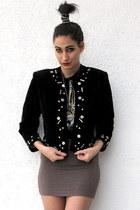 gold H&M hat - black vintage jacket - black Promo Herrlicher t-shirt - gold Etsy
