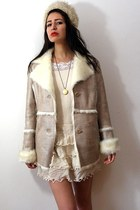 bronze aviator vintage jacket - cream curly lamb vintage hat