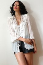 ivory vintage jacket - dark gray vintage shorts