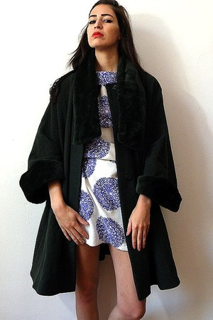 forest green vintage cape - purple vintage dress
