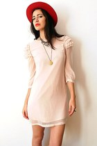 light pink vintage dress - red felt bowler vintage hat - gold vintage necklace