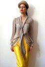 Yellow-silk-vintage-pants-tan-cylindric-vintage-hat