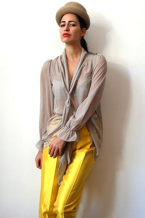 yellow silk vintage pants - tan cylindric vintage hat