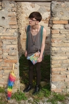 H&M - vintage intimate - Zara leggings - dads shoes - vintage shorts