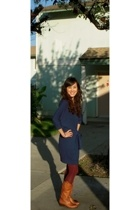blue ABS dress - purple Gap tights - Steven by Steve Madden boots