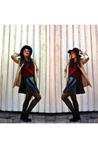 black Topshop skirt - beige Vila coat - crimson Mohito hat