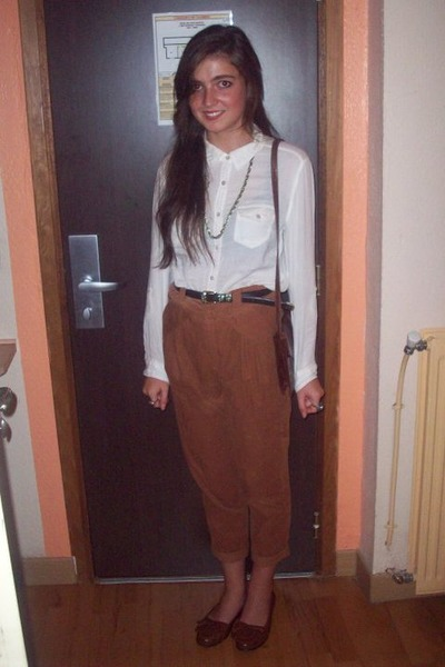 vintage bag - Topshop necklace - corduroy Zara pants