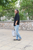 black Zara top - sky blue Zara jeans - white H&M bag - black Topshop loafers