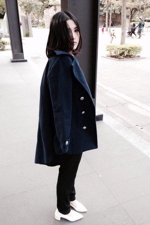 navy coat - sky blue Shana shirt - black Zara pants - white heels