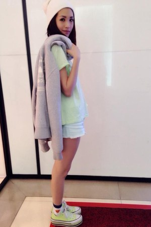 lime green Converse shoes - heather gray Adidas coat - white Forever 21 hat