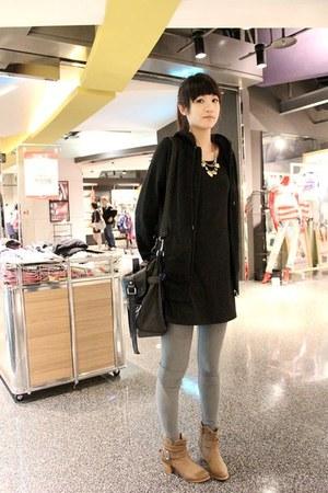 camel boots - black dress - black NET jacket - silver H&M leggings - black leath