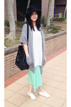 white shoes - aquamarine dress - black hat - heather gray knitted cape