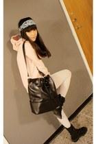 black Mango bag - black boots - white tights - puce H&M scarf
