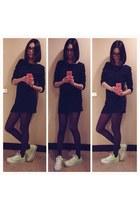lime green Converse shoes - navy dress - deep purple stockings - black glasses