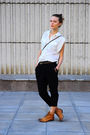 White-zara-blouse-black-zara-pants-orange-topshop-boots-brown-promod-bag