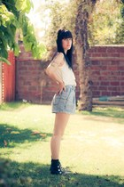 black Forever 21 boots - light blue vintage shorts - white layered Patronato t-s