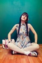 light blue floral print Mala Racha dress - white white creepers Ebay shoes