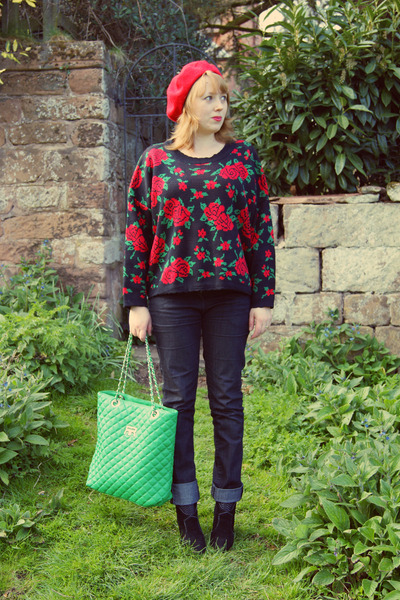 forest green bag - black sweater - red sweater