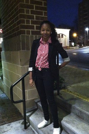 black Cheap Monday jeans - black H&M blazer - ruby red thrifted blouse