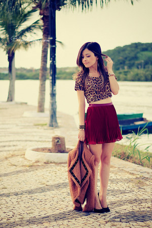 skirt - jacket - animal print shirt