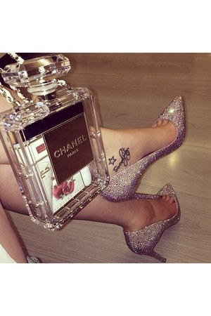transparent Chanel bag - glitter Christian Louboutin heels
