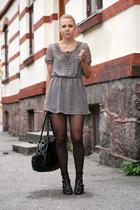 blouse - skirt - purse - boots