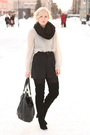 Blouse-coat-shorts-shoes-scarf-purse