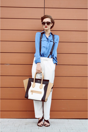 Celine bag - Herve Legere shirt - Stella McCartney pants - Celine glasses