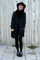 black Boutique in LA dress - black vintage hat - black H&M jacket